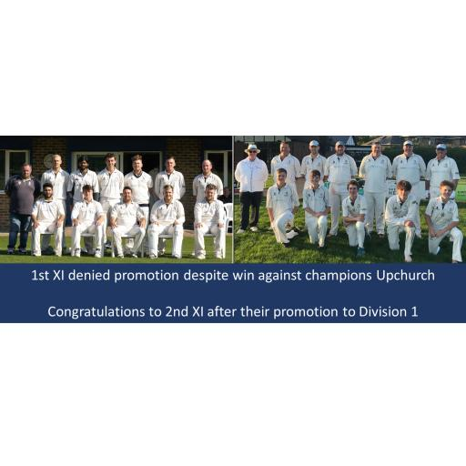 1st XI denied promotion despite win. 2nd XI win and achieve promotion to Division 1