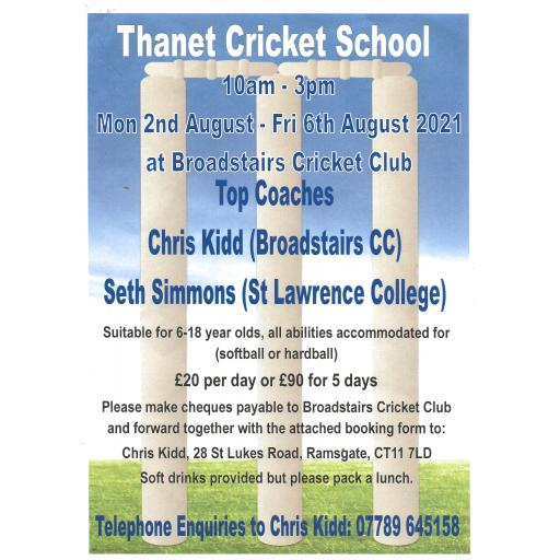 Thanet Cricket School 2nd-6th August